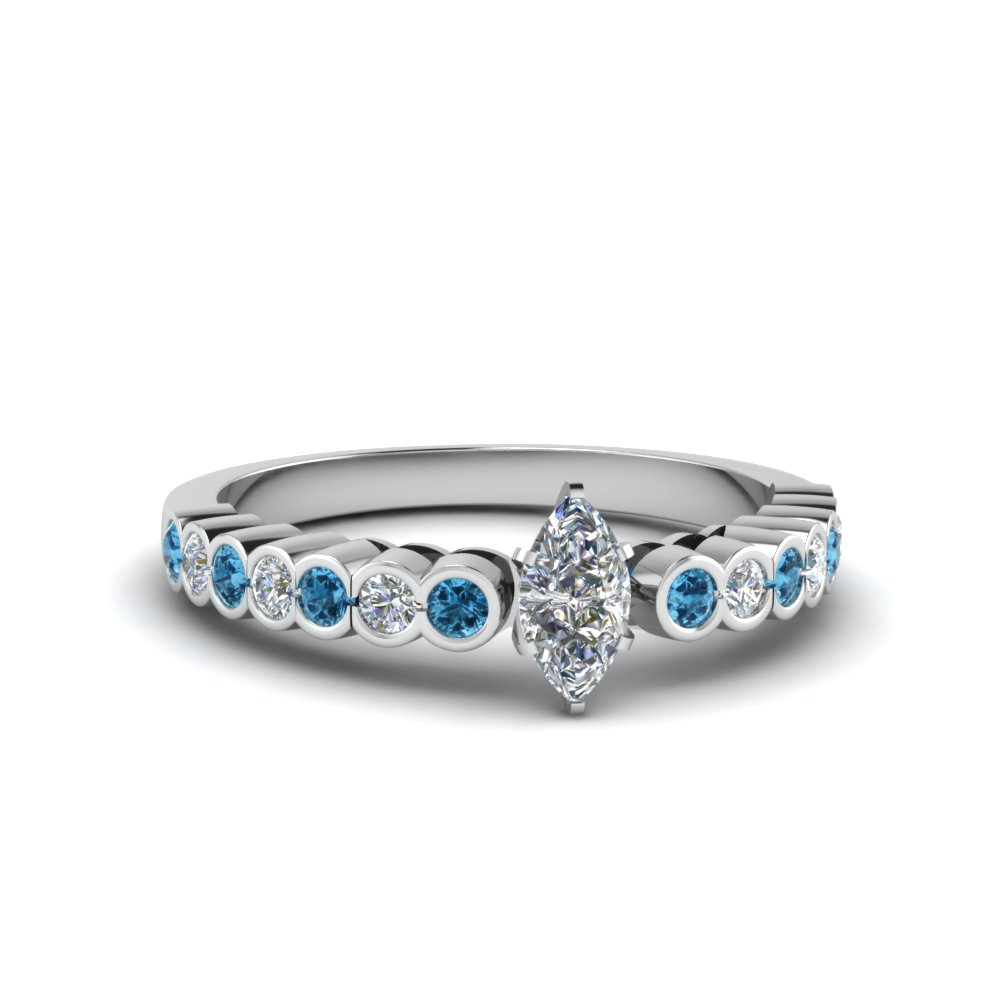 Marquise Cut & Blue Topaz Engagement Rings
