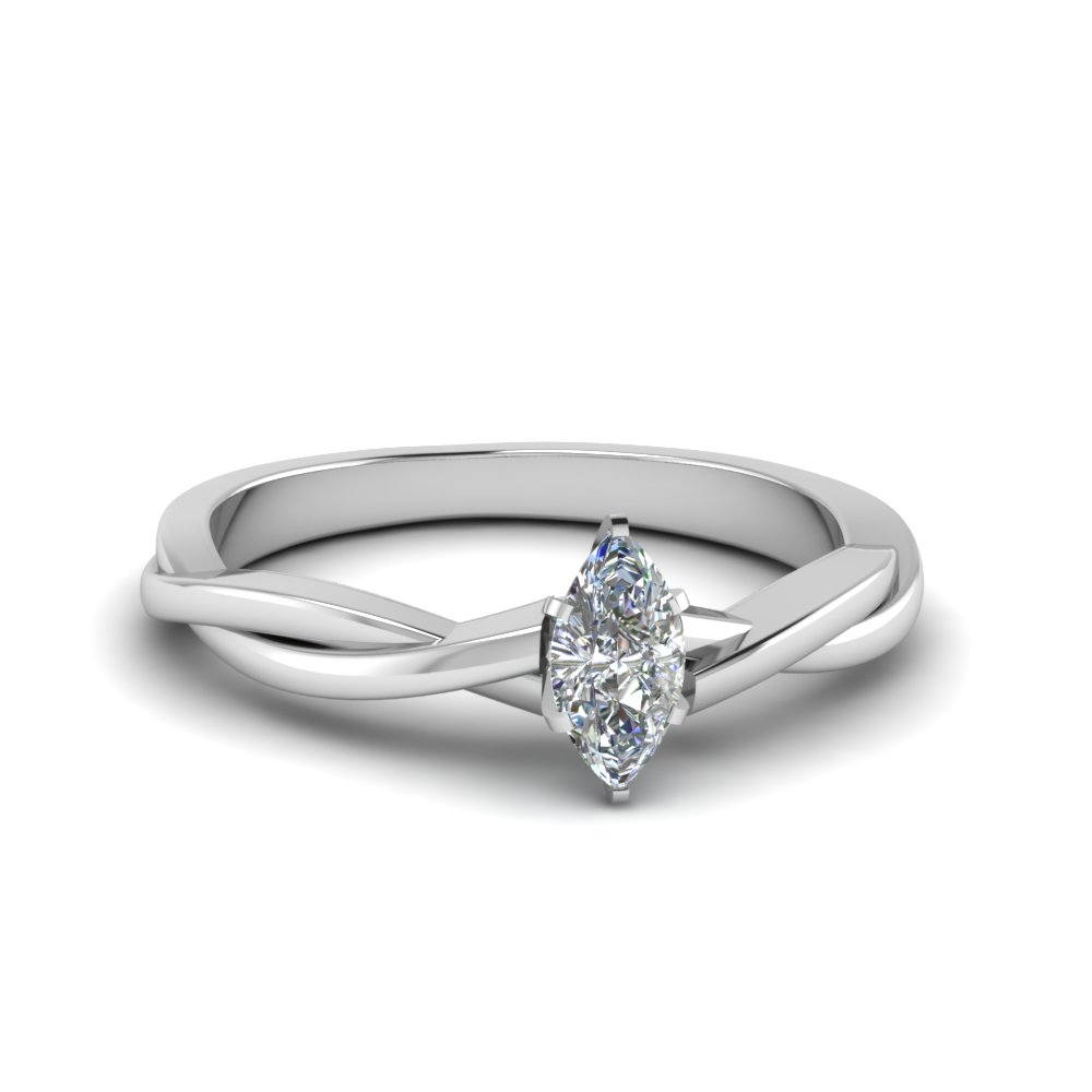 marquise cut braided single diamond engagement ring in 18K white gold FD8252MQR NL WG
