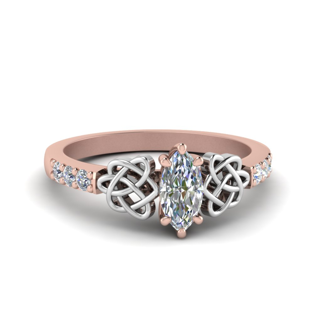 Marquise Rose Gold Celtic Wedding Ring