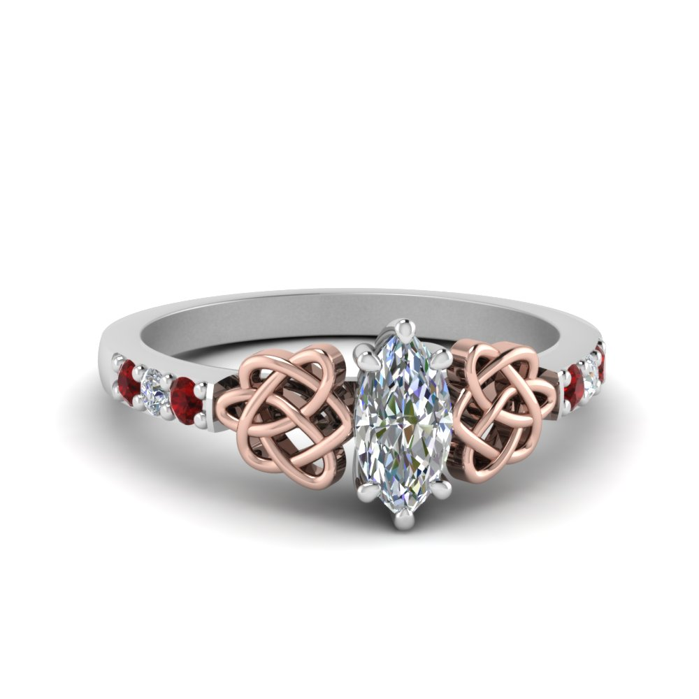 celtic marquise diamond engagement ring with ruby in FDENS2255MQRGRUDR NL WG