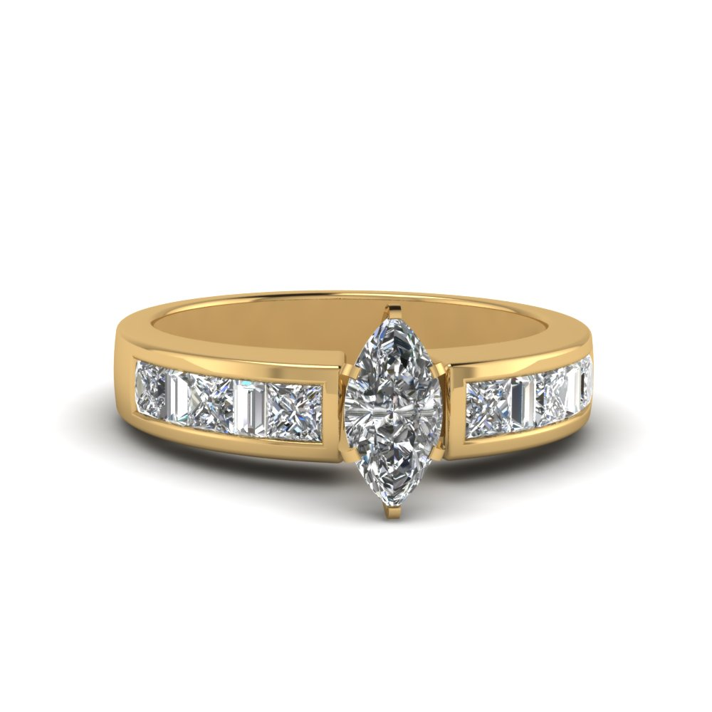 marquise cut channel baguette and princess accent diamond engagement ring in FDENS350MQR NL YG