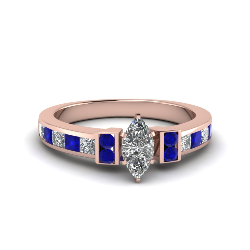 marquise cut channel bar set diamond engagement ring for women with blue sapphire in FDENR989MQRGSABL NL RG