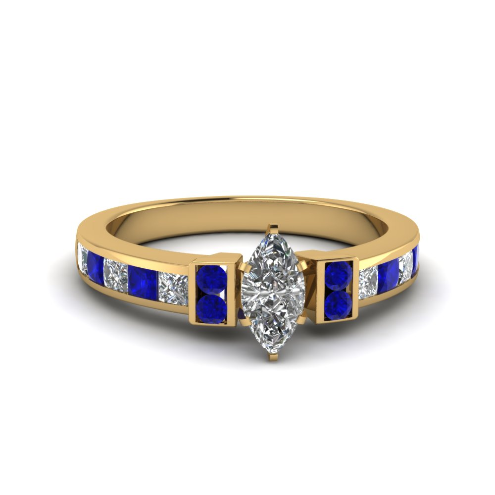 marquise cut channel bar set diamond engagement ring for women with blue sapphire in FDENR989MQRGSABL NL YG