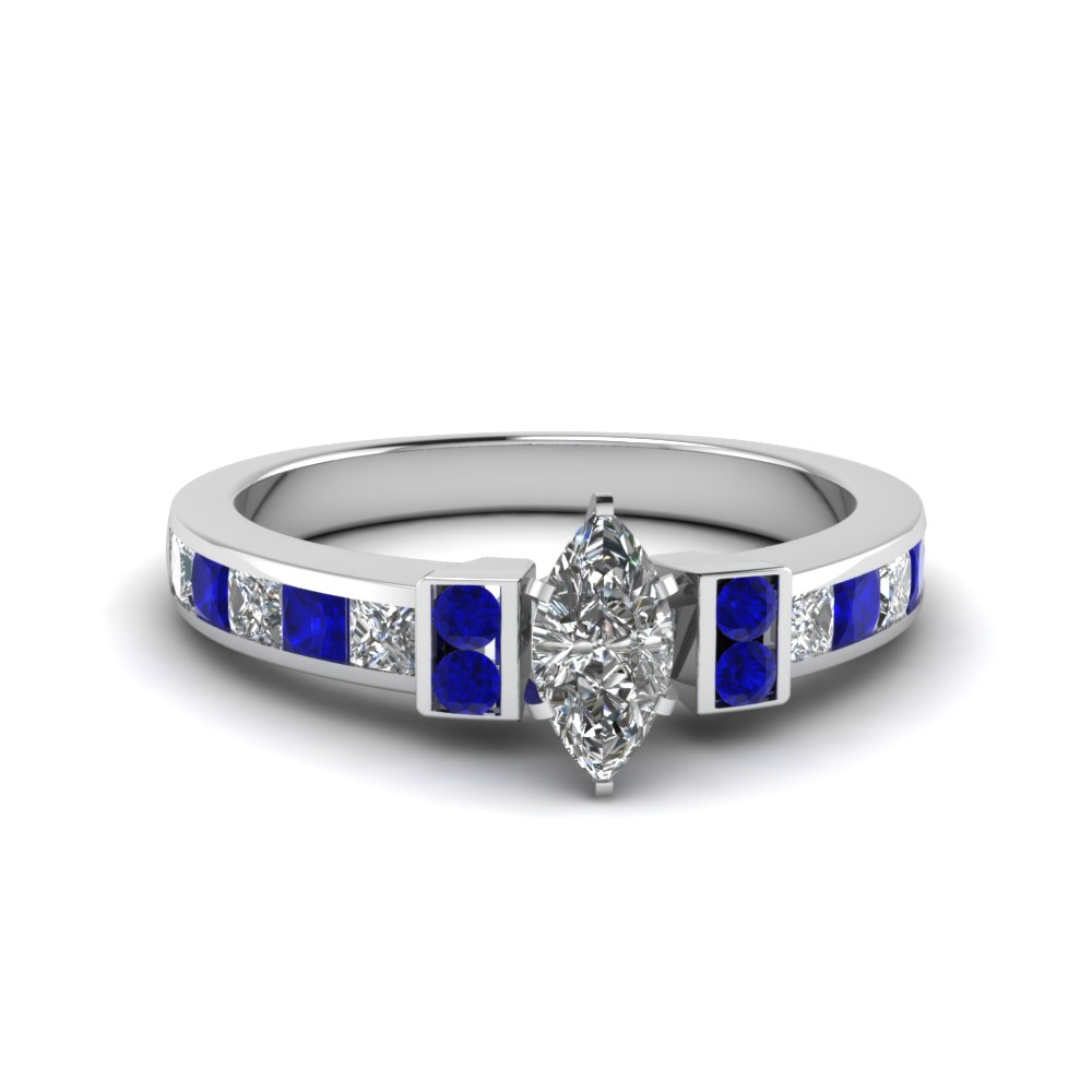 marquise cut channel bar set diamond engagement ring for women with blue sapphire in FDENR989MQRGSABL NL WG