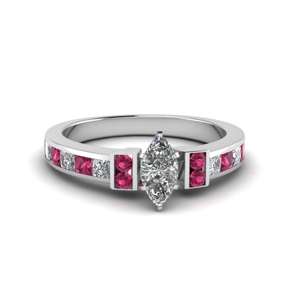 marquise cut channel bar set diamond engagement ring for women with pink sapphire in FDENR989MQRGSADRPI NL WG