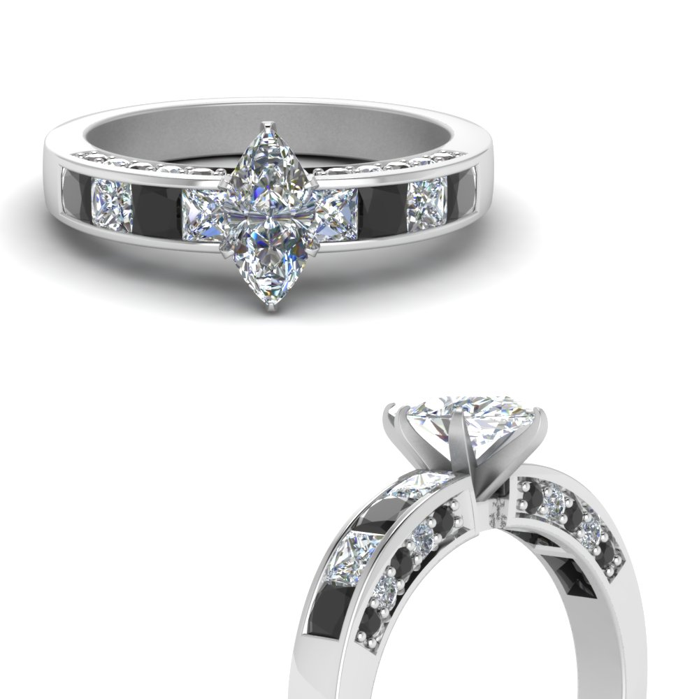 marquise cut channel engagement ring with black diamond in FDENS198MQRGBLACKANGLE3 NL WG.jpg