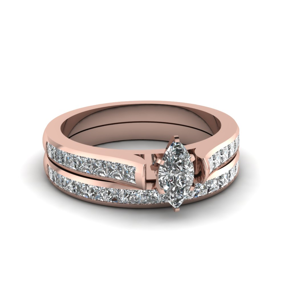 marquise cut channel set diamond wedding ring sets in 14K rose gold FDENS877MQ NL RG 30
