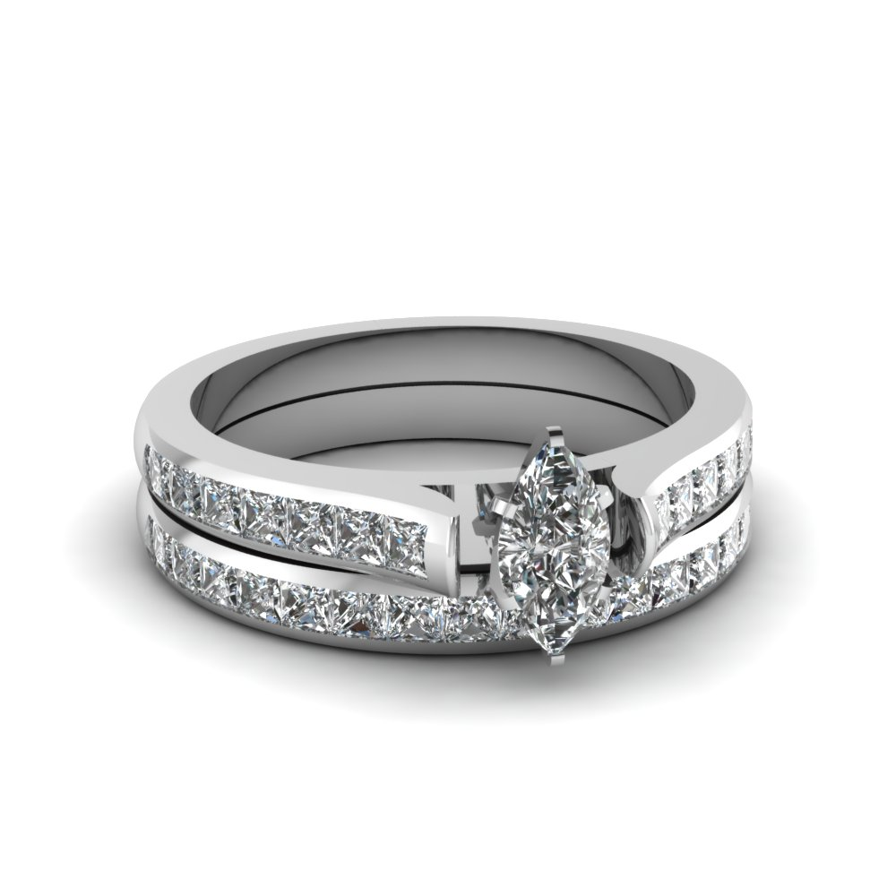 marquise cut channel set diamond wedding ring sets in 14K white gold FDENS877MQ NL WG 30