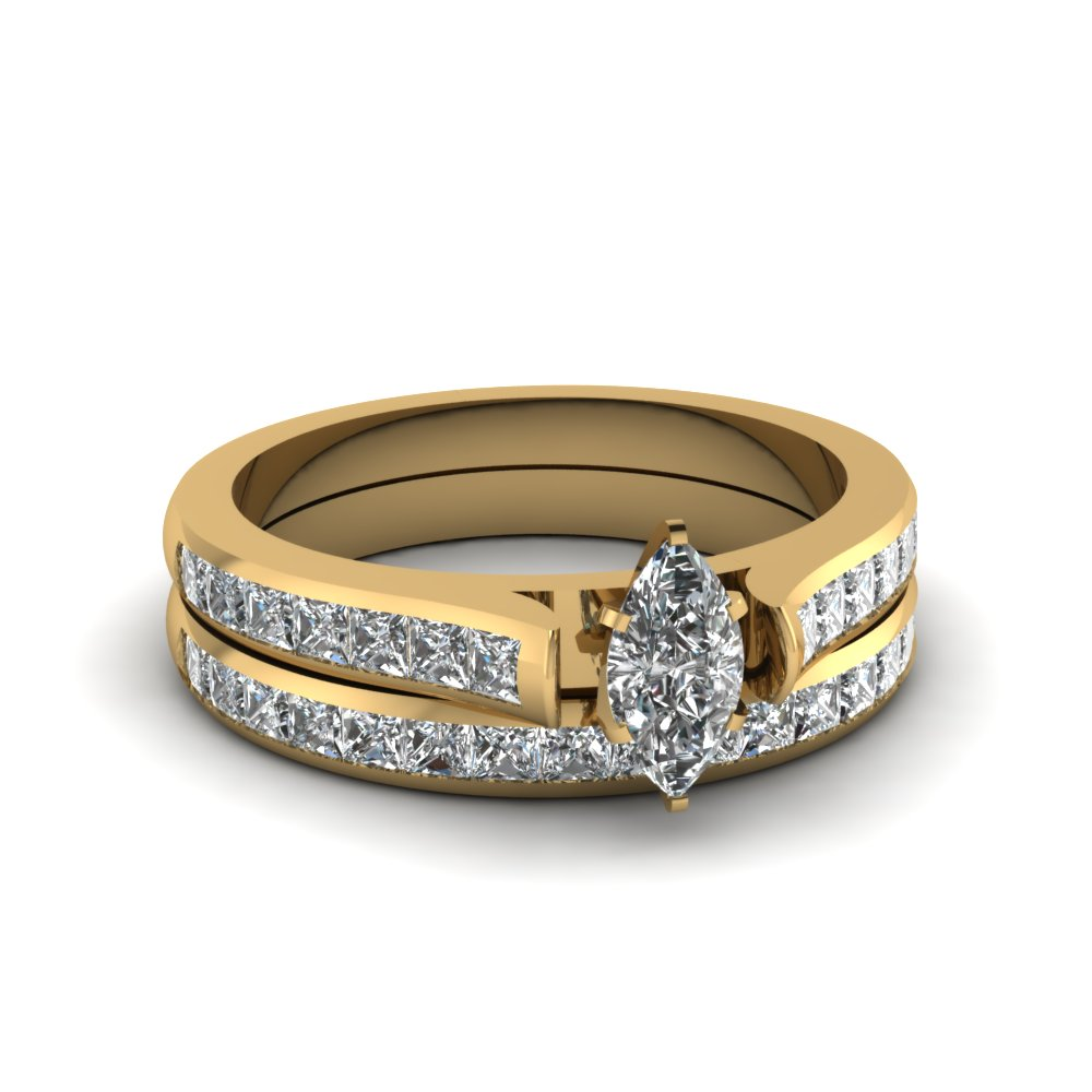 marquise cut channel set diamond wedding ring sets in 18K yellow gold FDENS877MQ NL YG 30