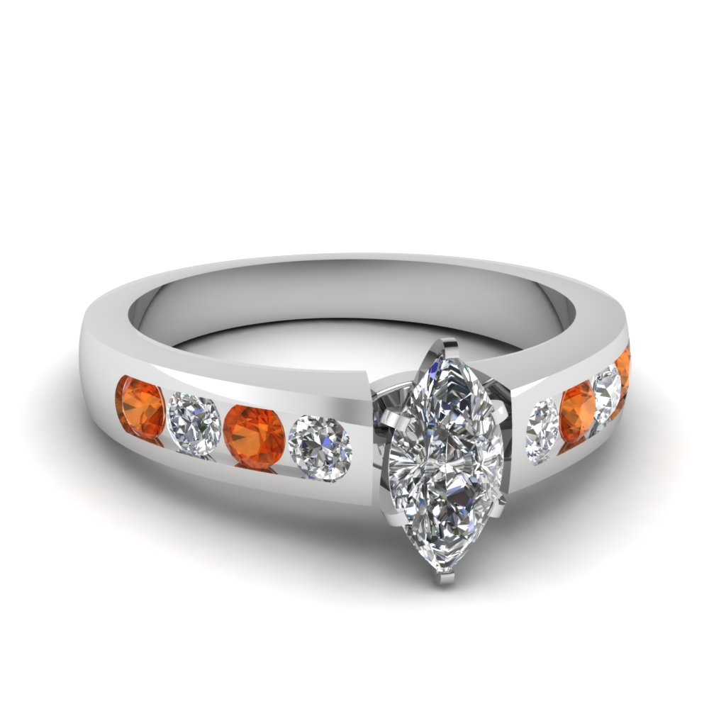 marquise cut diamond channel set engagement ring with orange sapphire in FDENR1274MQRGSAOR NL WG