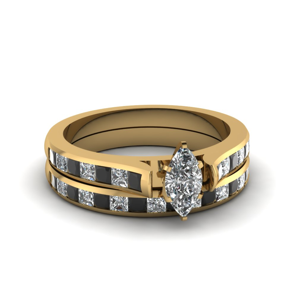marquise cut channel set wedding ring sets with black diamond in 18K yellow gold FDENS877MQGBLACK NL YG 30