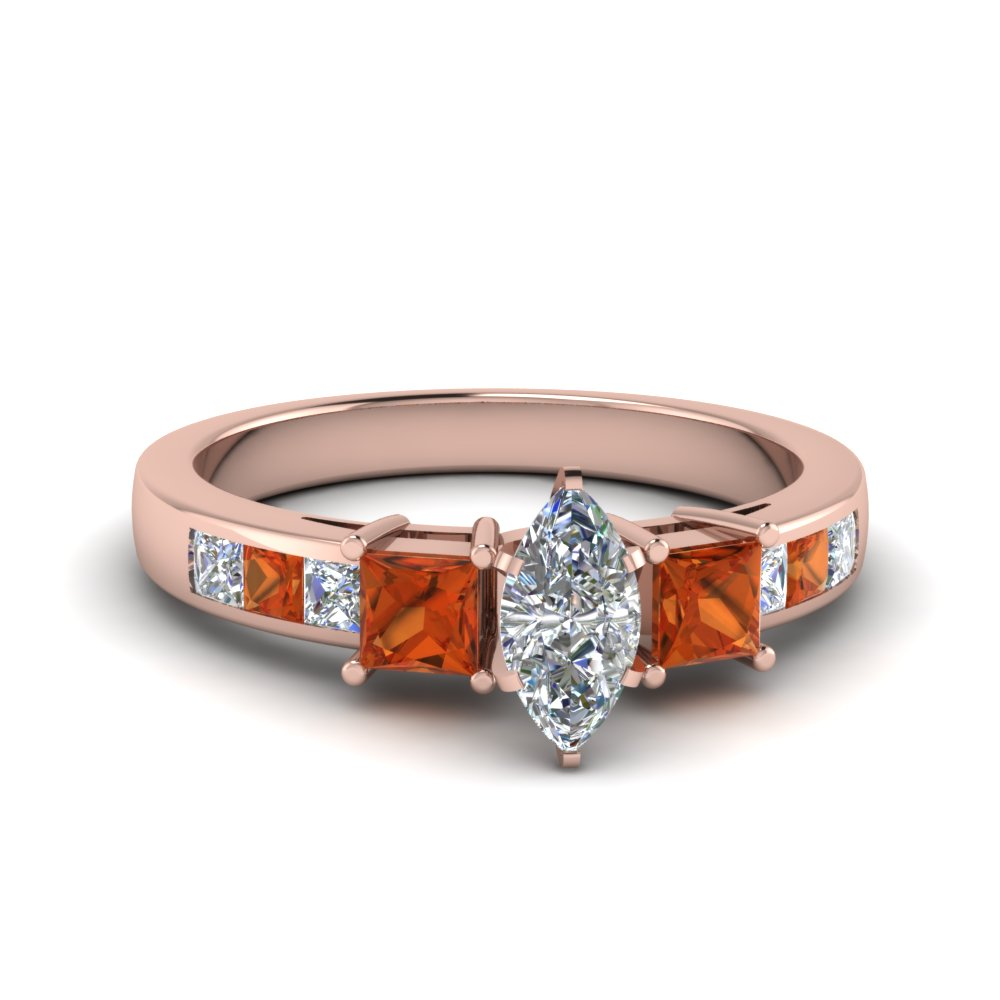 marquise cut channel three stone diamond engagement ring with orange sapphire in 18K rose gold FDENS205MQRGSAOR NL RG