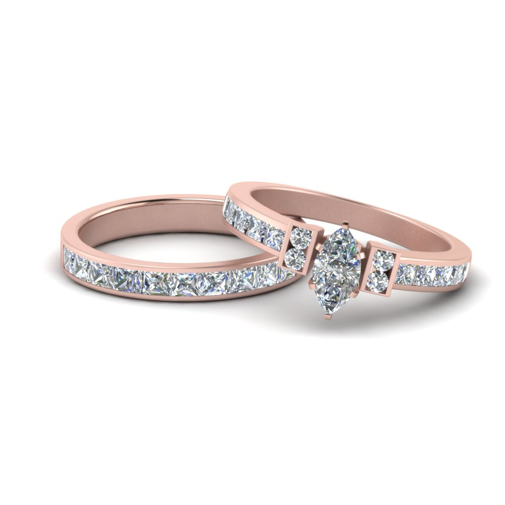 Marquise Cut Classic Diamond Women Wedding Ring Set In 14k Rose Gold
