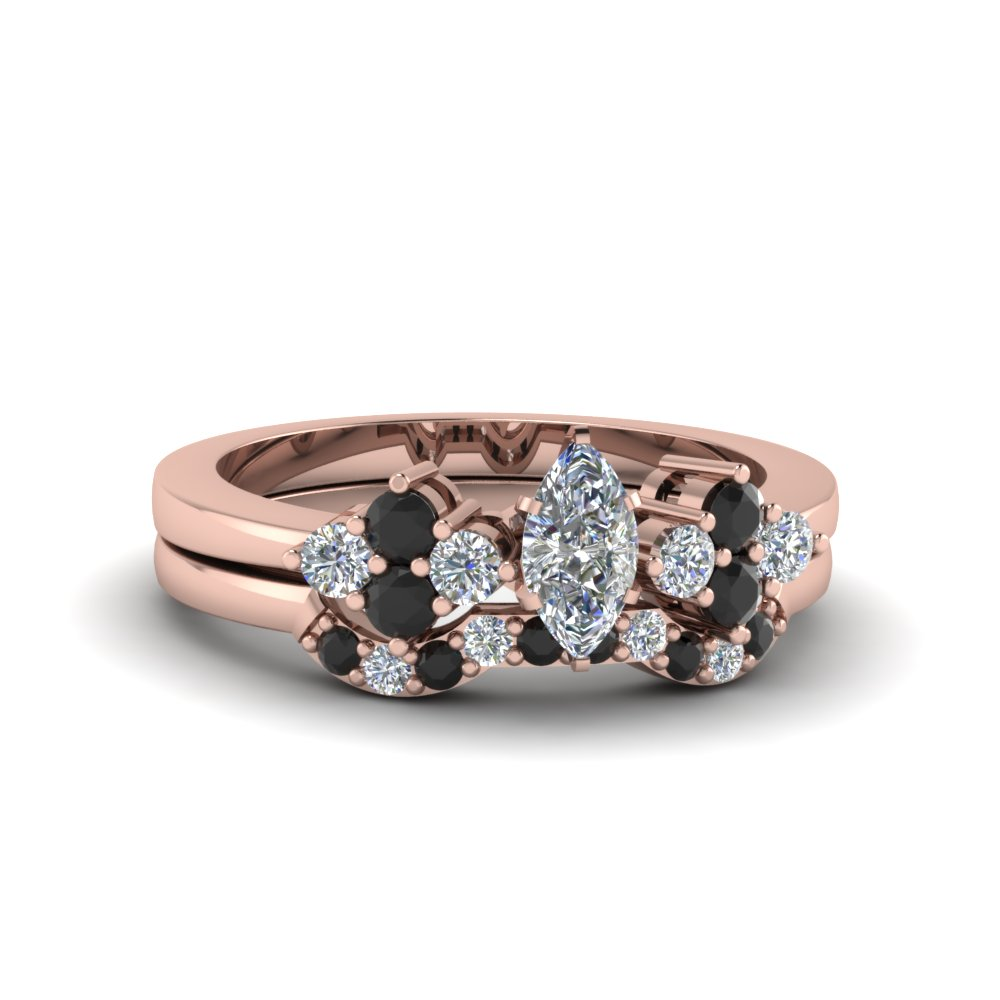cluster diamond bridal set for women marquise shaped diamond wedding ring sets with black diamond in 14k rose gold - Black Diamond Wedding Rings For Women