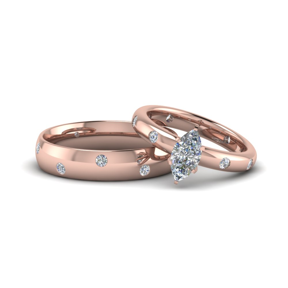marquise cut couple wedding rings his and hers matching anniversary sets gifts in 14K rose gold FD8153B NL RG