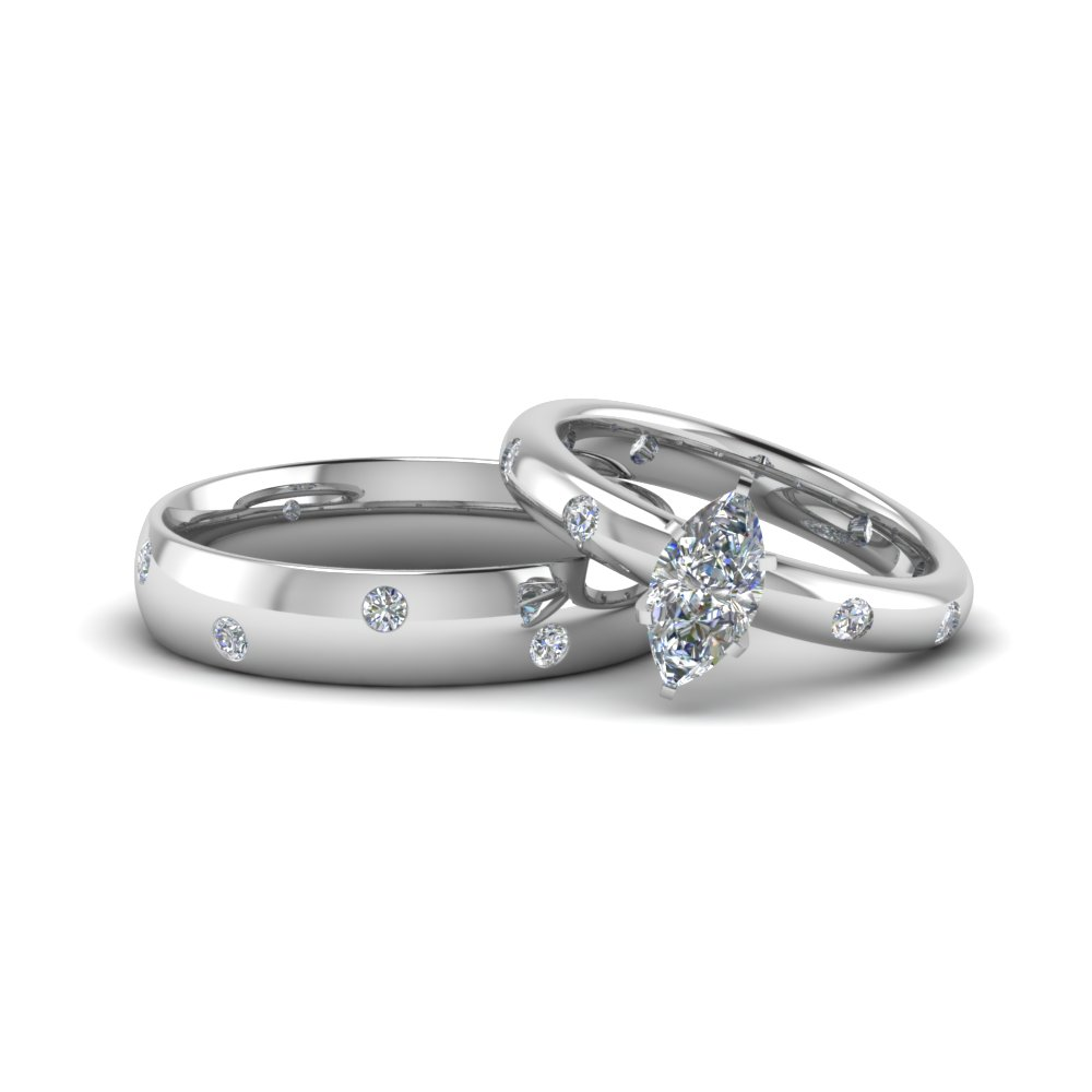 Marquise Cut His And Hers Matching Anniversary Sets Gifts In 18k