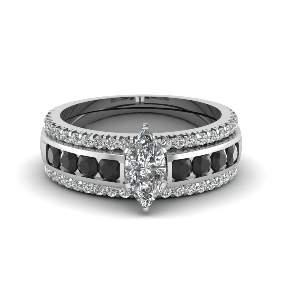 Platinum Marquise Shaped Black Diamond Engagement Rings