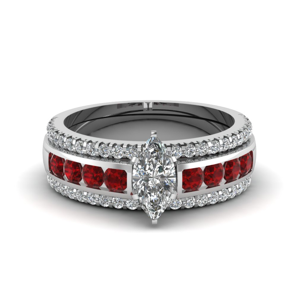 marquise diamond bridal trio set with ruby in FD8026TMQGRUDRANGLE1 NL WG