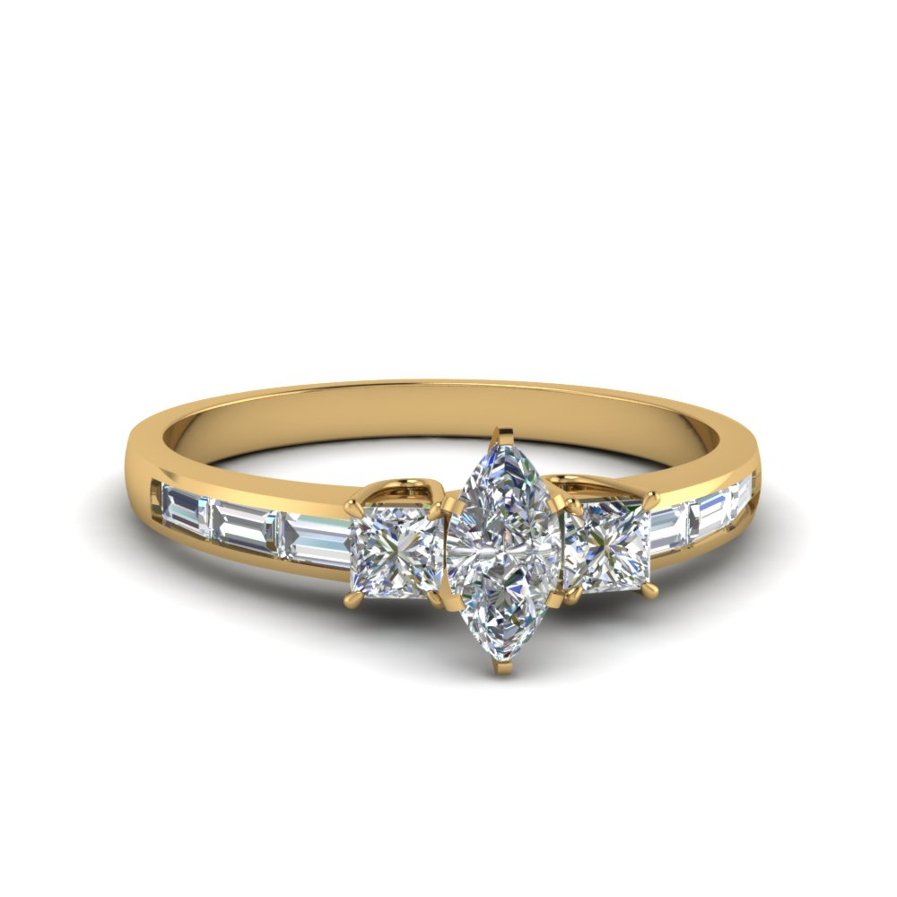 channel baguette 3 stone marquise cut diamond engagement ring in FDENS1021MQR NL YG