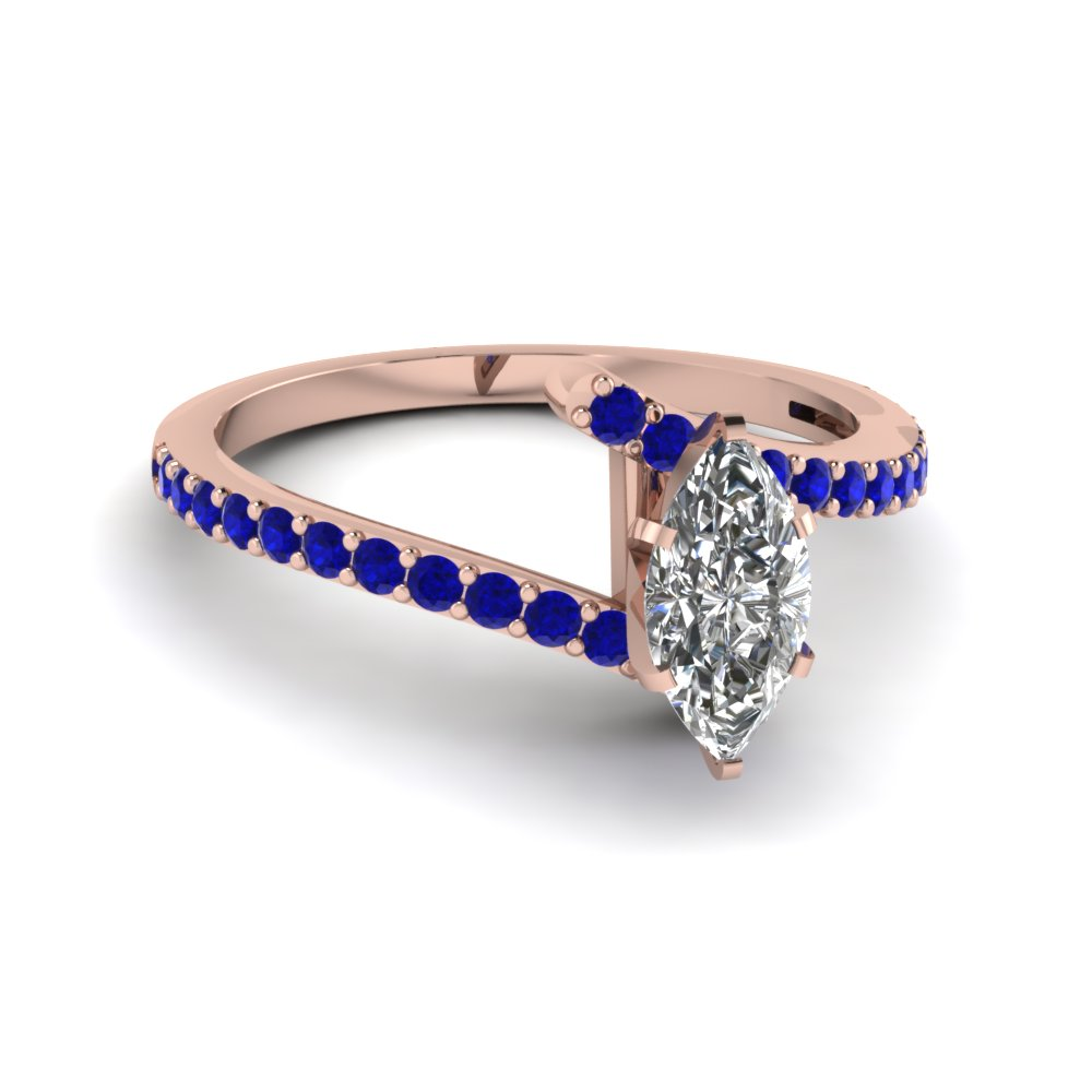 marquise cut diamond colorful engagement ring with blue sapphire in 14K rose gold FDENS3007MQRGSABL NL RG GS
