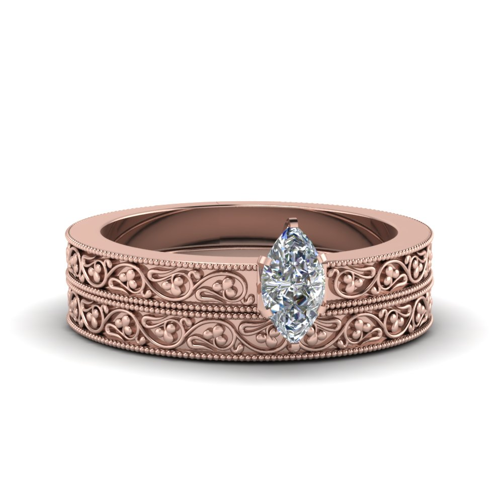 marquise cut diamond filigree vintage engagement ring with matching band in 18K rose gold FDENS3627MQ NL RG