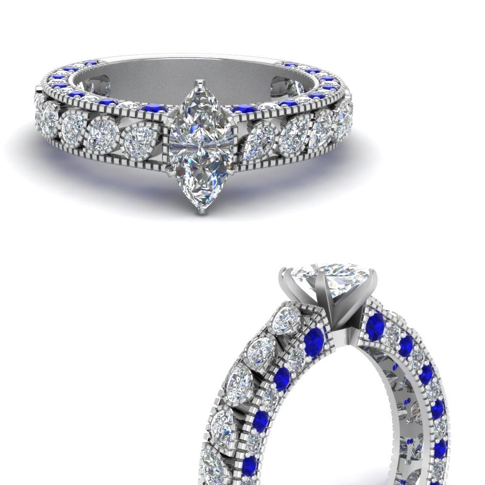 Vintage Pave Marquise Shaped Diamond Accent Engagement Ring With Sapphire In 950 Platinum Fascinating Diamonds