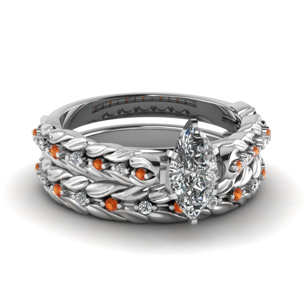 Marquise Cut Orange Sapphire Ring Set