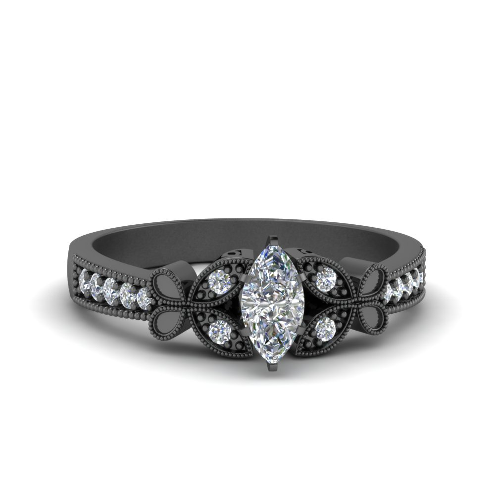 Nature Inspired Black Gold Engagement Ring