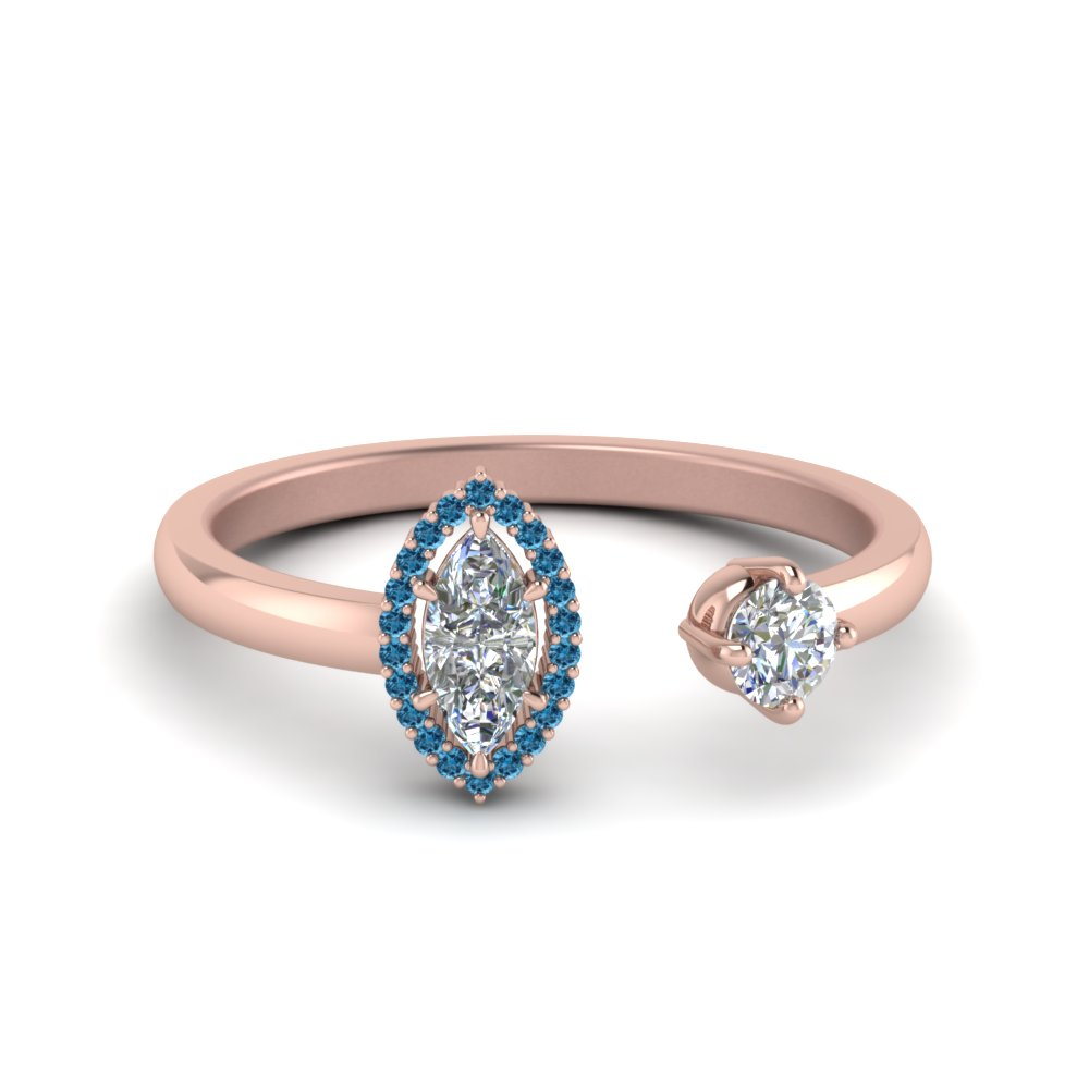 marquise cut diamond open wrap engagement ring with blue topaz in 14K rose gold FD8850MQRGICBLTO NL RG GS