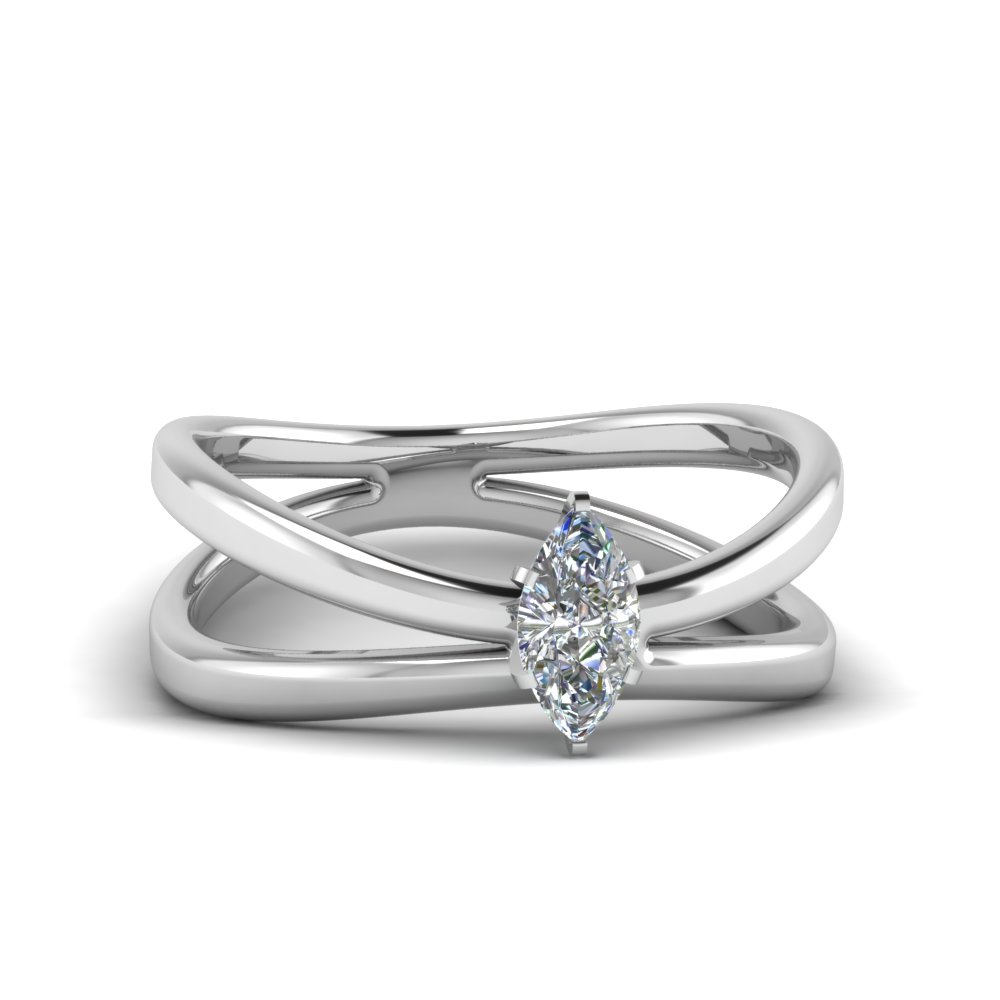 reversed split marquise cut solitaire engagement ring in FD1008MQR NL WG
