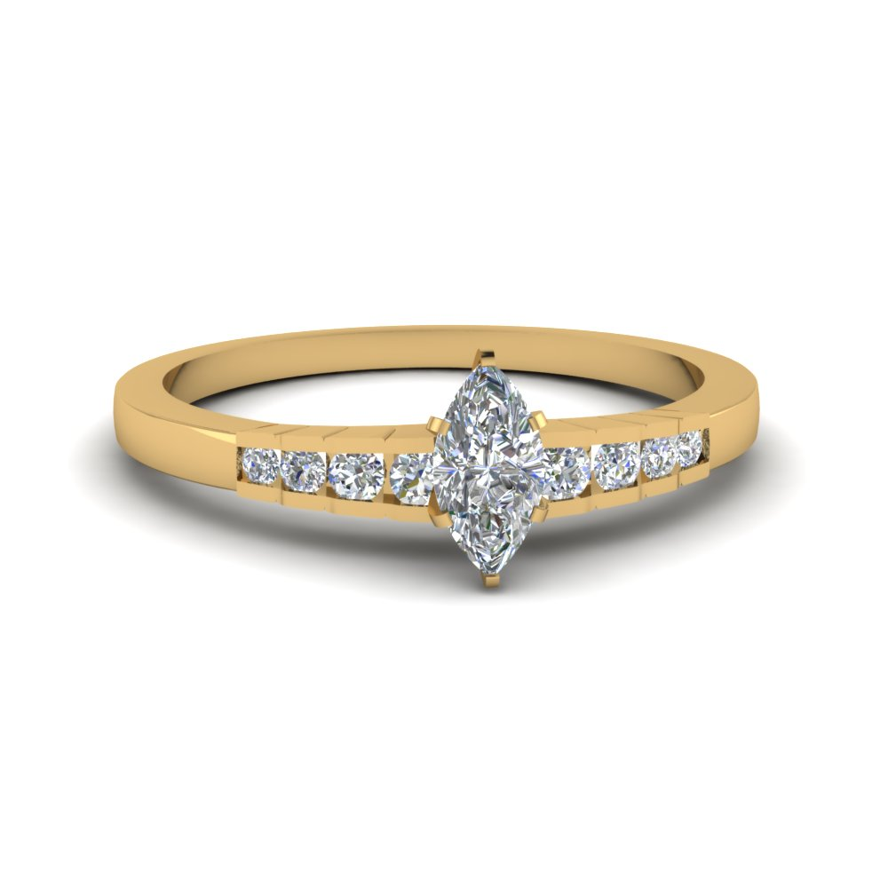 marquise cut diamond graduated accent engagement ring in 14K yellow gold FDENS3116MQR NL YG