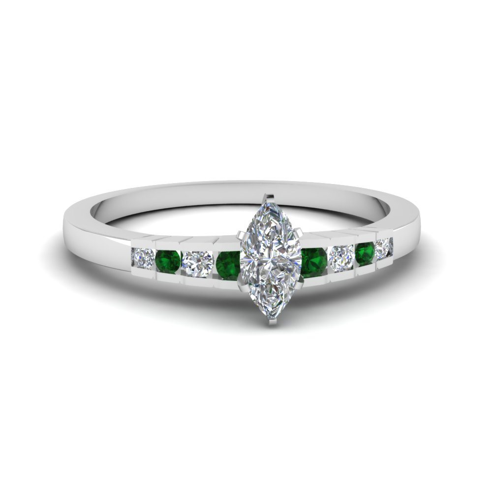 marquise cut diamond graduated accent engagement ring with emerald in 18K white gold FDENS3116MQRGEMGR NL WG