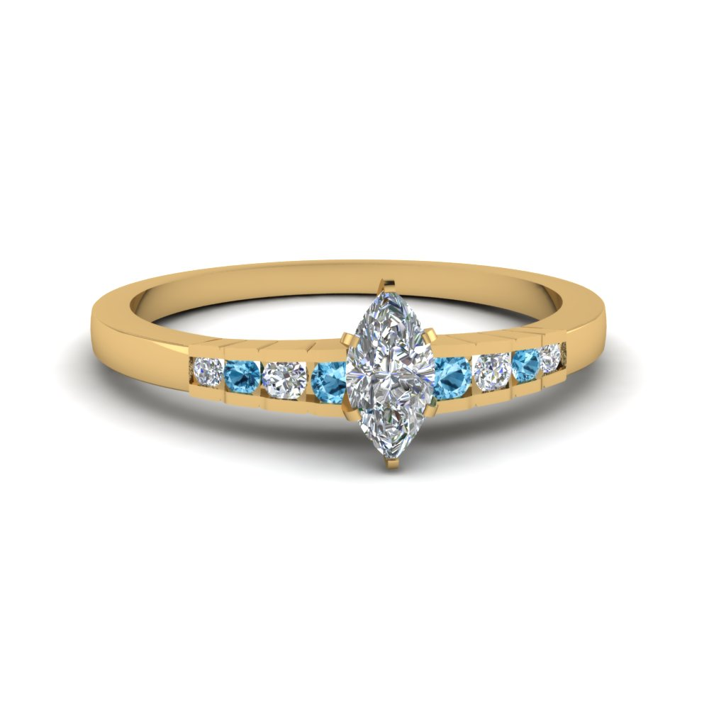marquise cut diamond graduated accent engagement ring with blue topaz in 14K yellow gold FDENS3116MQRGICBLTO NL YG