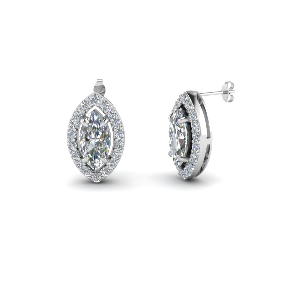 Marquise Cut Diamond Stud Earrings In 14k White Gold Fascinating