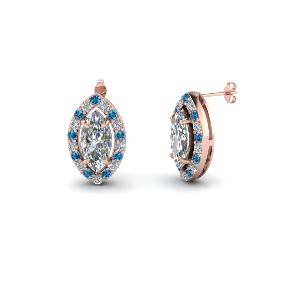 marquise cut diamond stud earrings with blue topaz in 14K rose gold FDEAR1186MQGICBLTO NL RG
