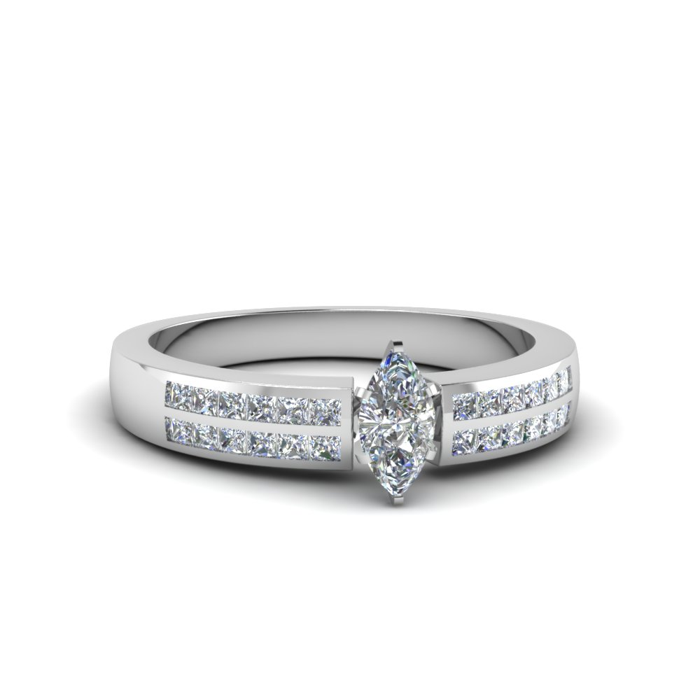 marquise cut double row channel diamond wide ring in FDENS3122MQR NL WG