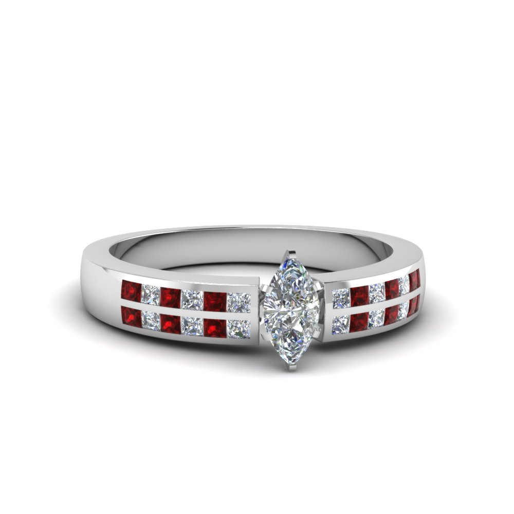 marquise cut double row channel diamond wide ring with ruby in 18K white gold FDENS3122MQRGRUDR NL WG