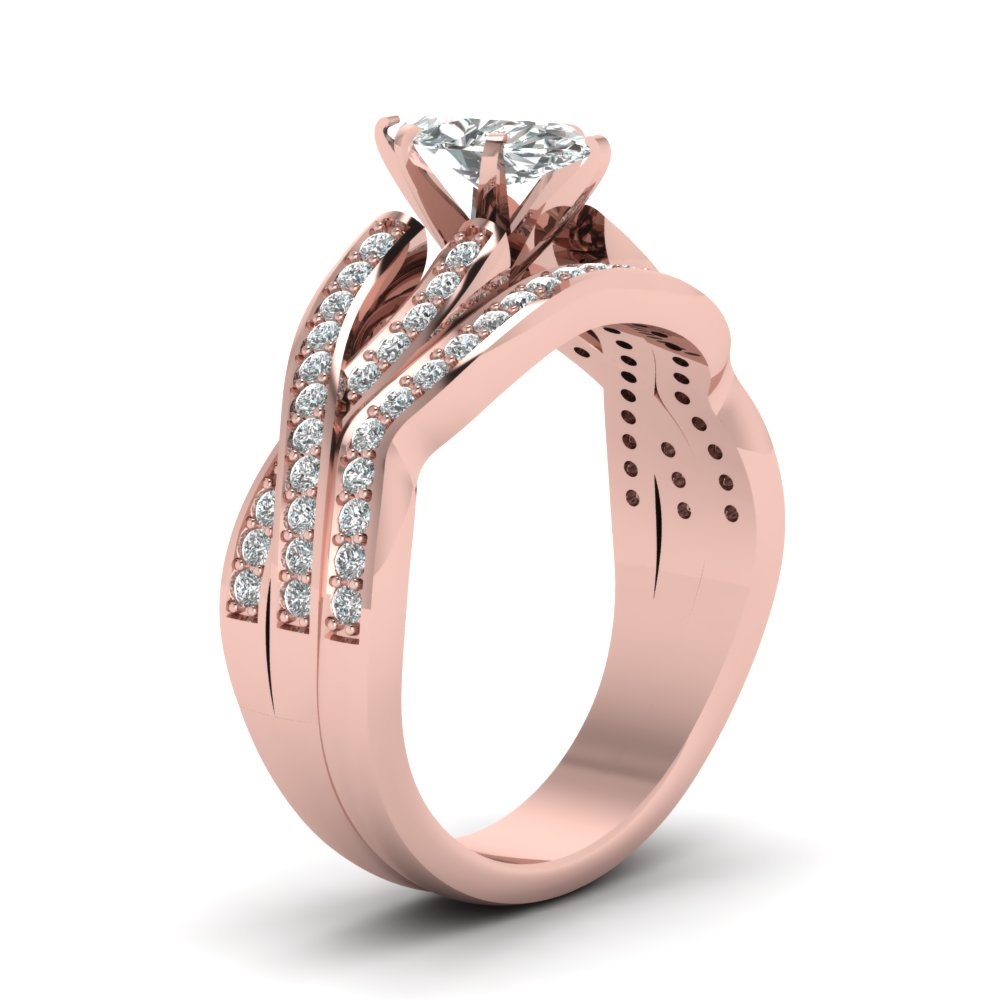 Marquise Cut Entwined Pave Diamond Bridal Set In 18K Rose Gold ...