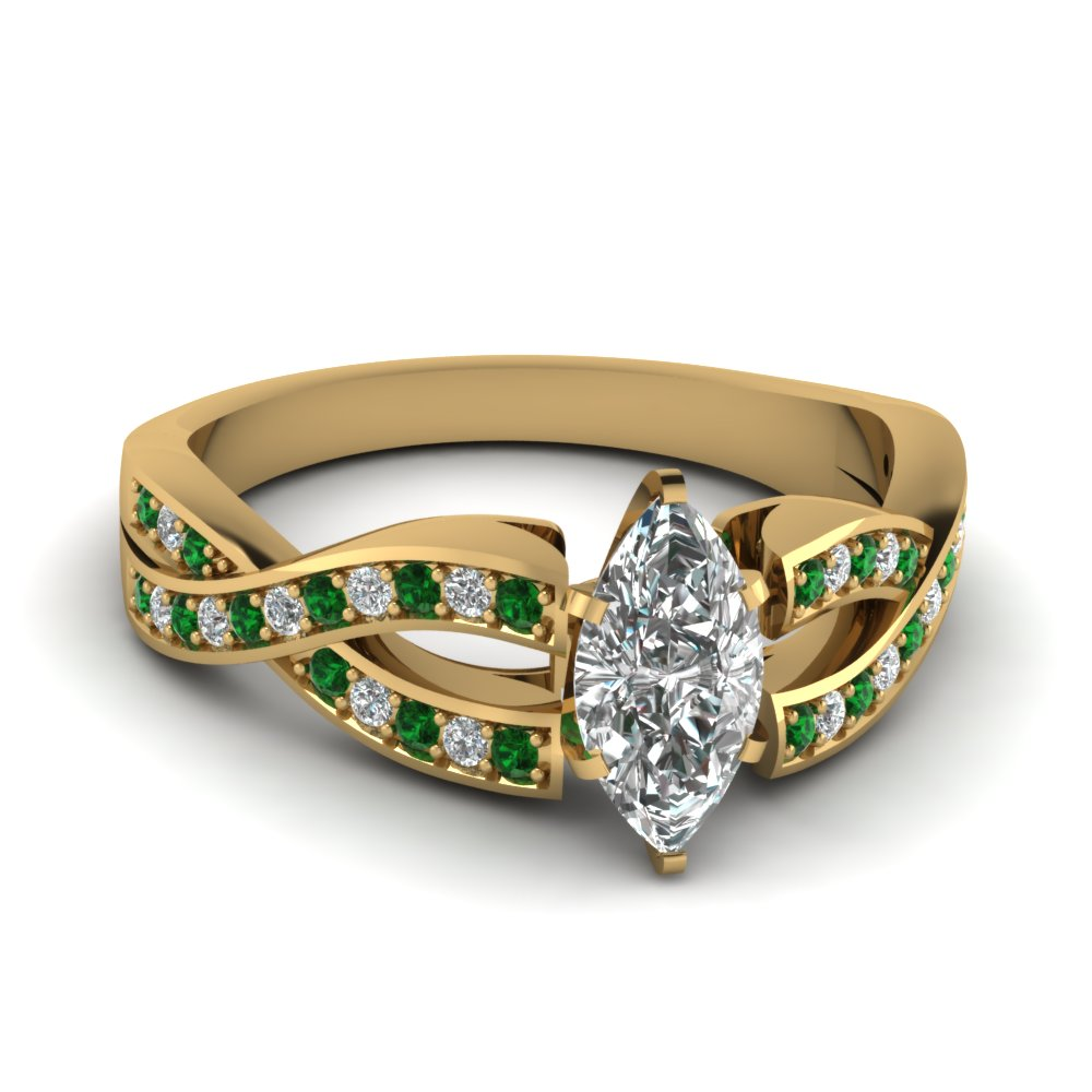 Marquise Cut Entwined Emerald Ring