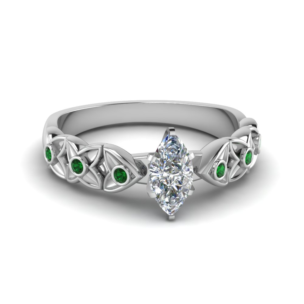 Floral Style Emerald Engagement Ring