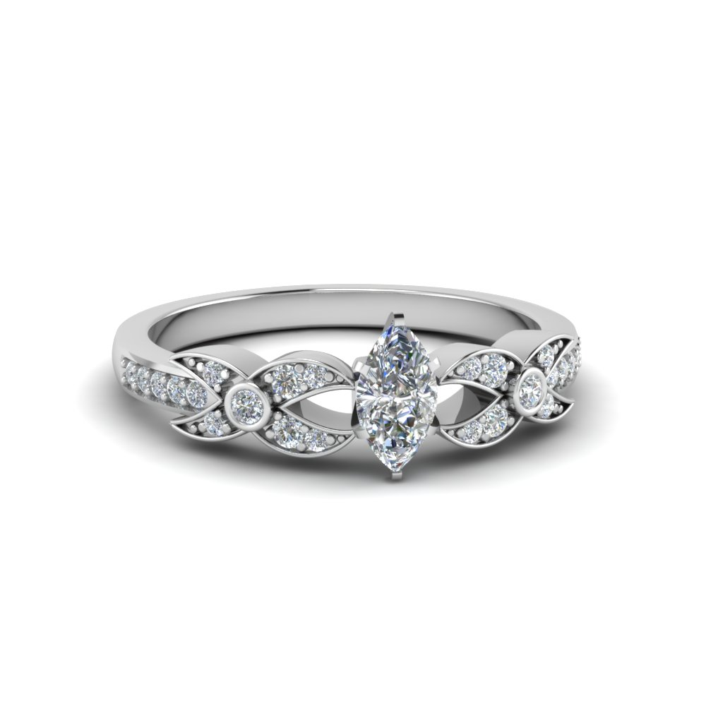 marquise cut flower pave diamond ring in 18K white gold FDENS3322MQR NL WG