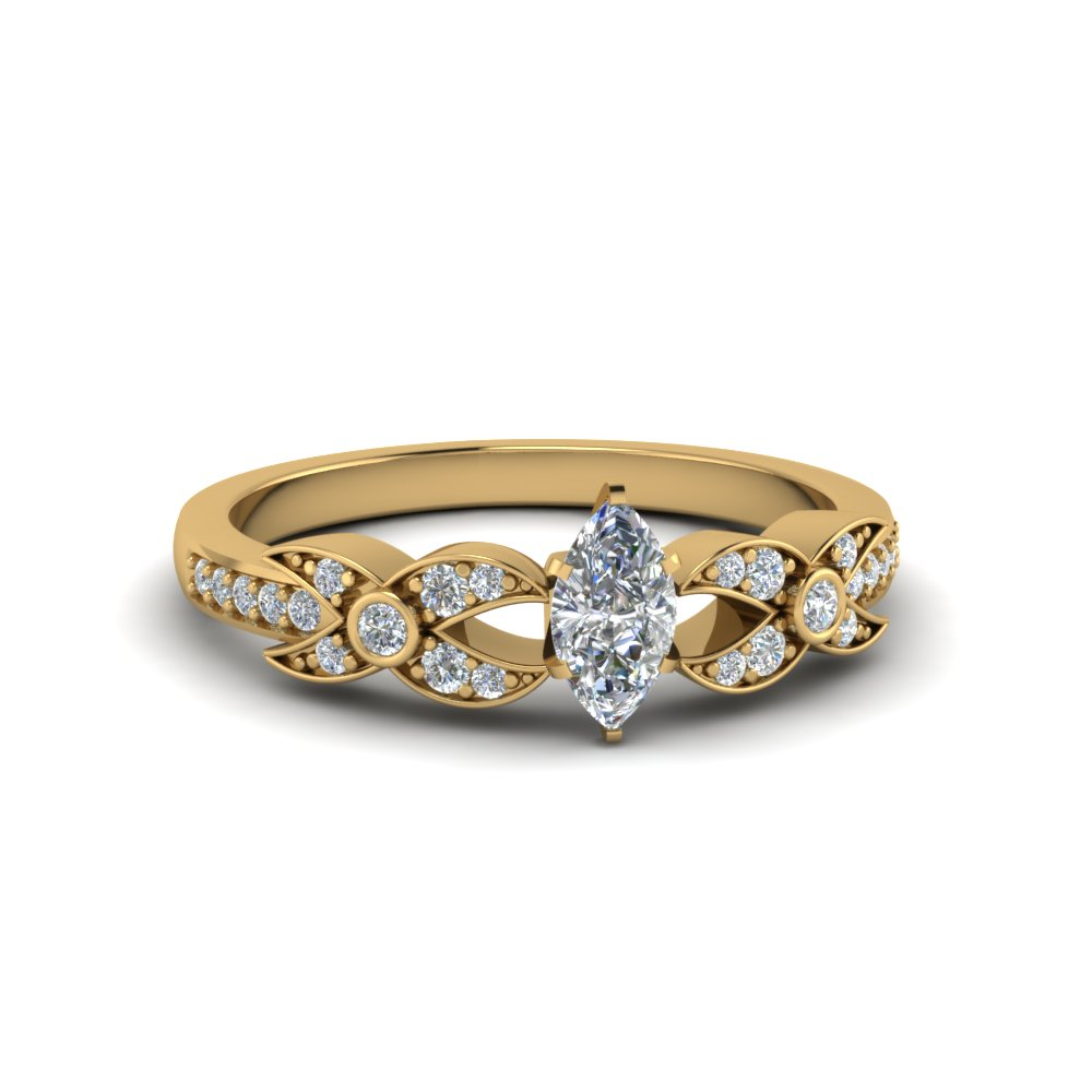 marquise cut flower pave diamond ring in 18K yellow gold FDENS3322MQR NL YG