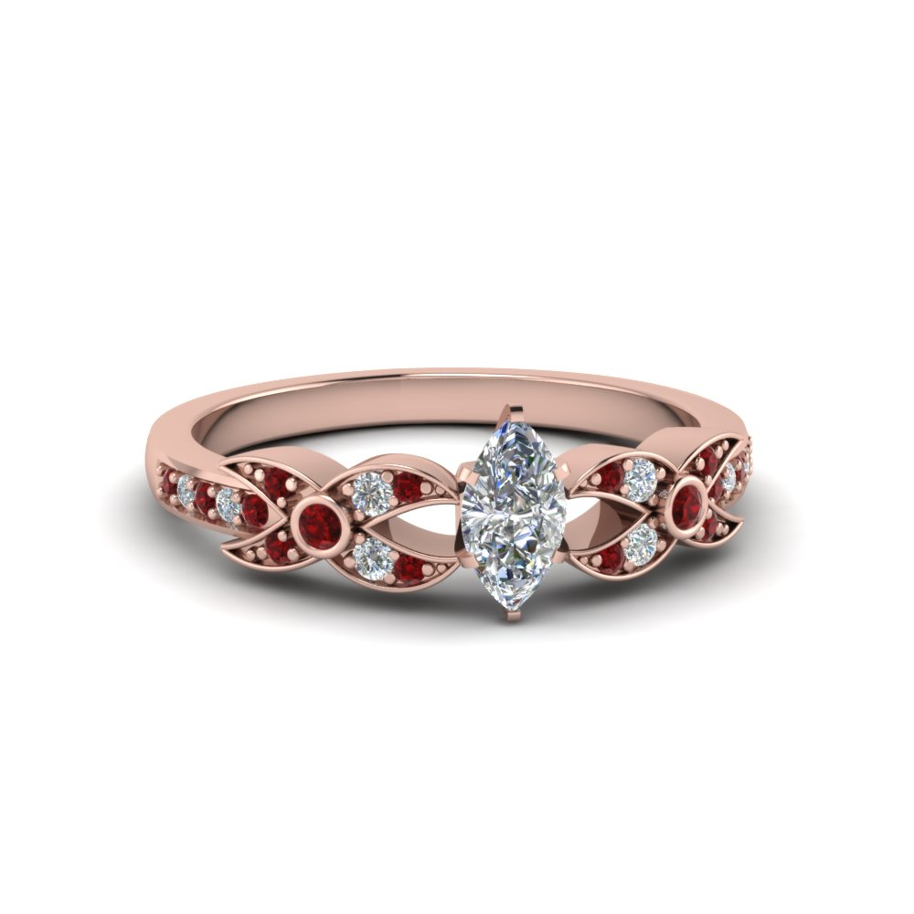 marquise cut flower pave diamond ring with ruby in 18K rose gold FDENS3322MQRGRUDR NL RG