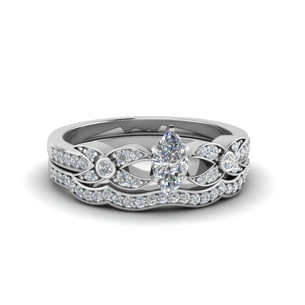 marquise cut flower pave wedding ring set in 14k