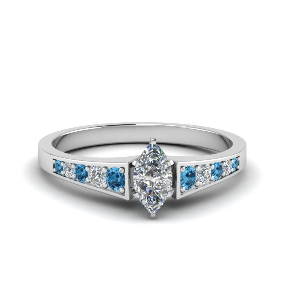marquise cut graduated pave accent diamond engagement ring with blue topaz in FD8048MQRGICBLTO NL WG