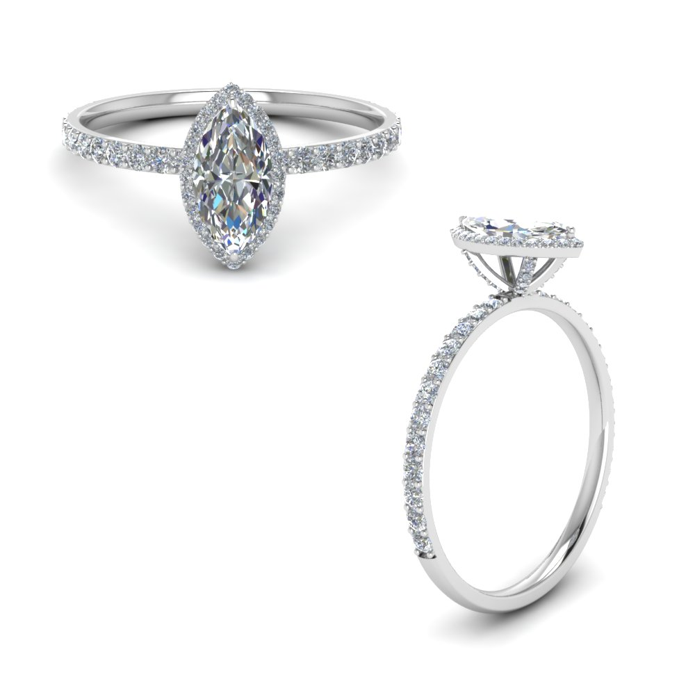 Marquise Cut Halo Diamond Engagement Ring