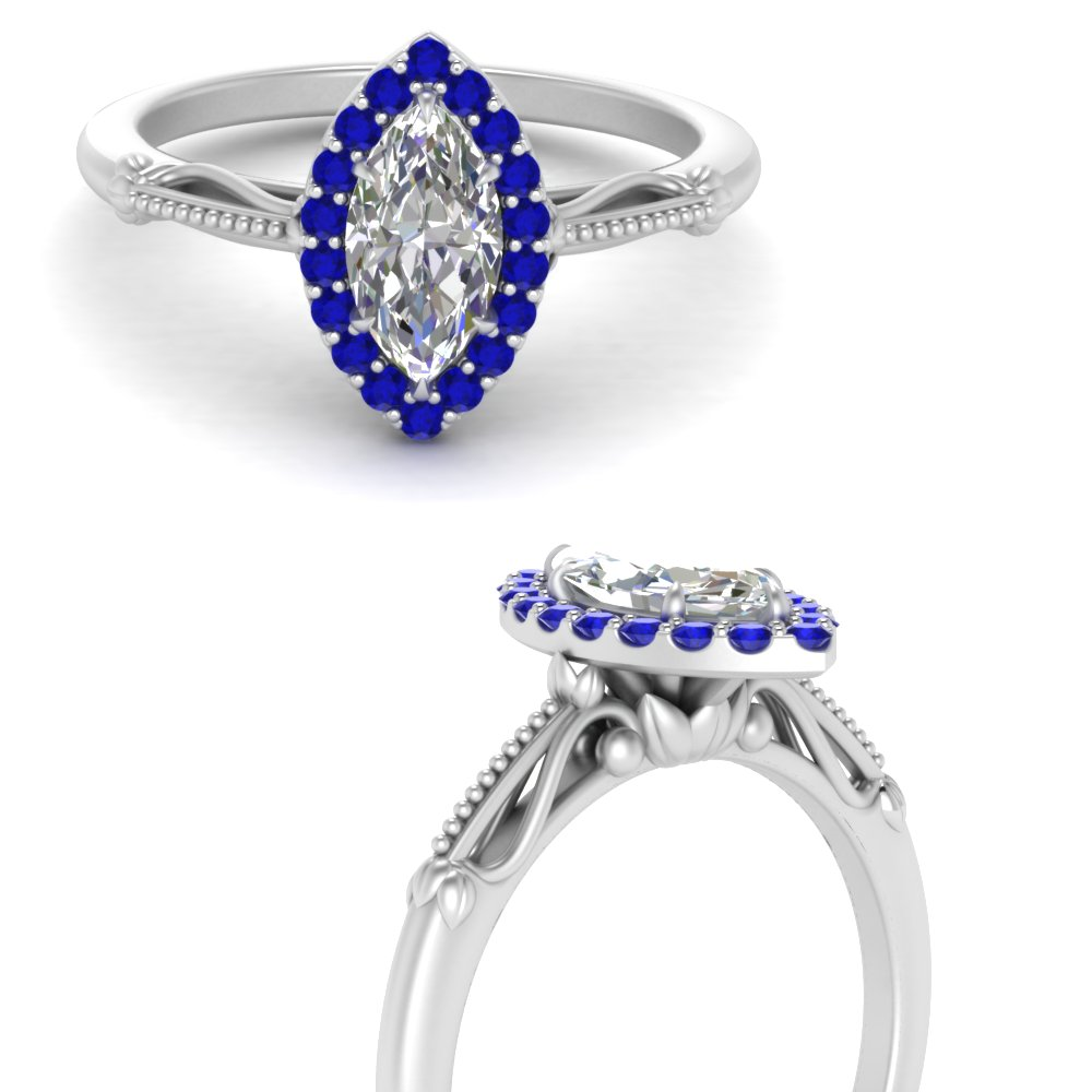 marquise cut halo floral shank sapphire engagement ring in white gold FD124330MQRGSABLANGLE3 NL WG