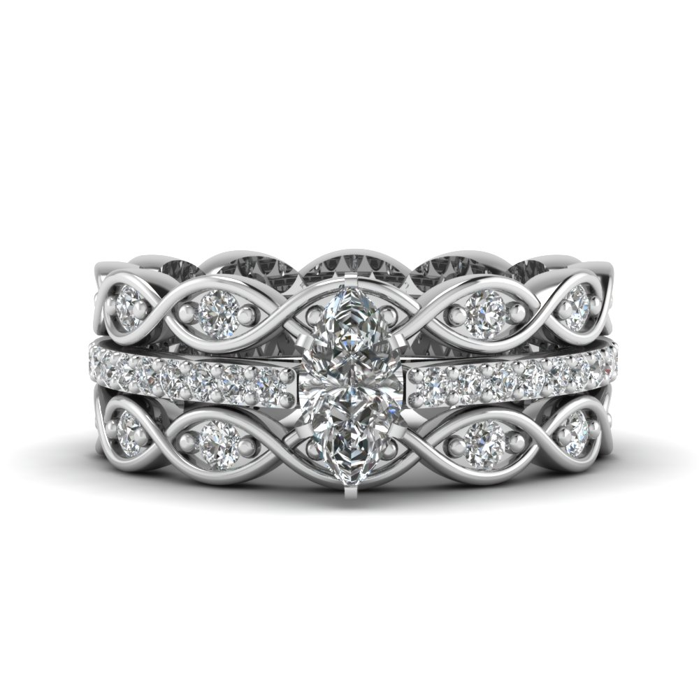 Marquise Cut Diamond Trio Bridal Sets