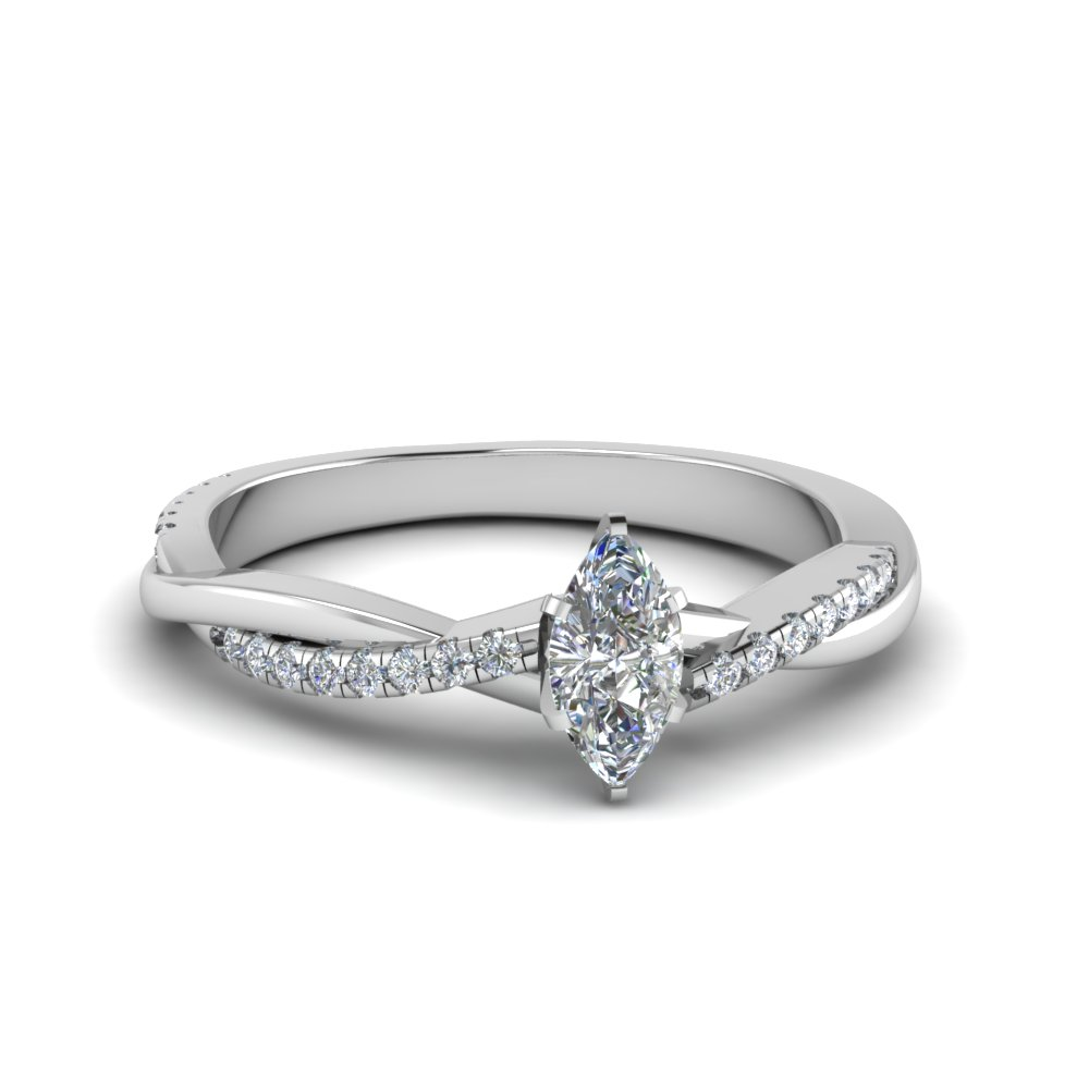 marquise cut infinity twist diamond engagement ring in FD8253MQR NL WG