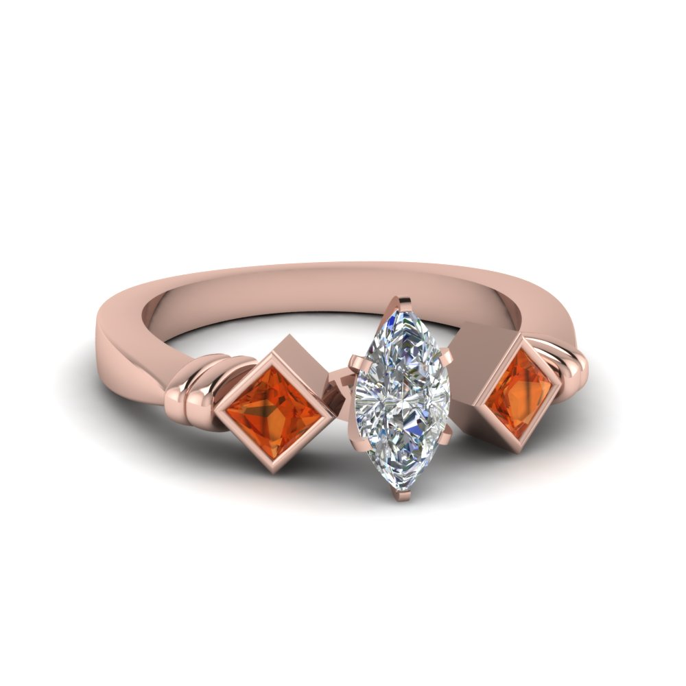 marquise cut kite set 3 moissanite engagement ring with orange sapphire in FDENR1414MQRGSAOR NL RG